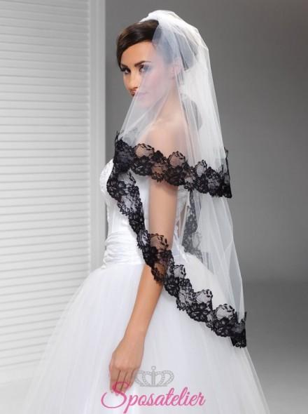 velo sposa corto con pizzo nero online economico