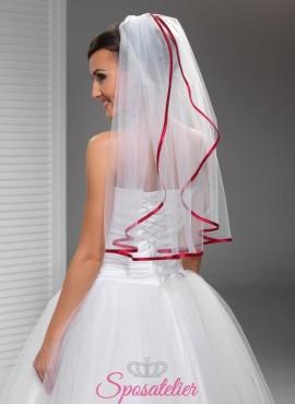 velo sposa a cascata con orlo di raso rosso online