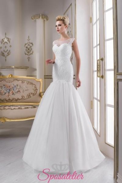 abiti da sposa in pizzo a sirena con ricami vendita online