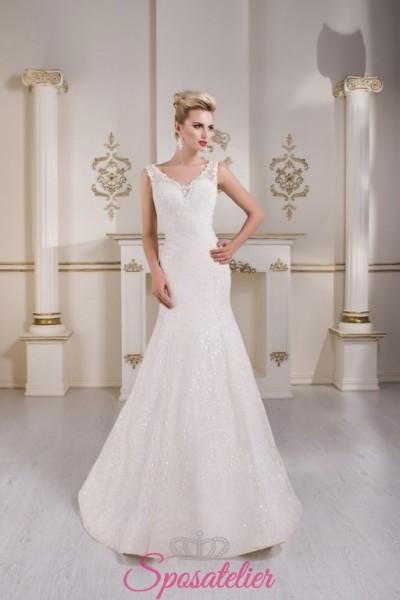 abiti da sposa in pizzo a sirena con punti luce vendita online