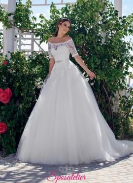 abiti da sposa online economici con scollatura a barchetta e gonna ampia 2018