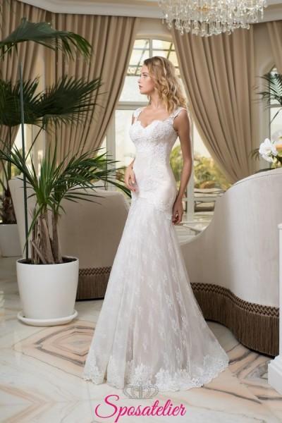 bellissimi abiti da sposa a sirena ricamati con pizzo vendita online