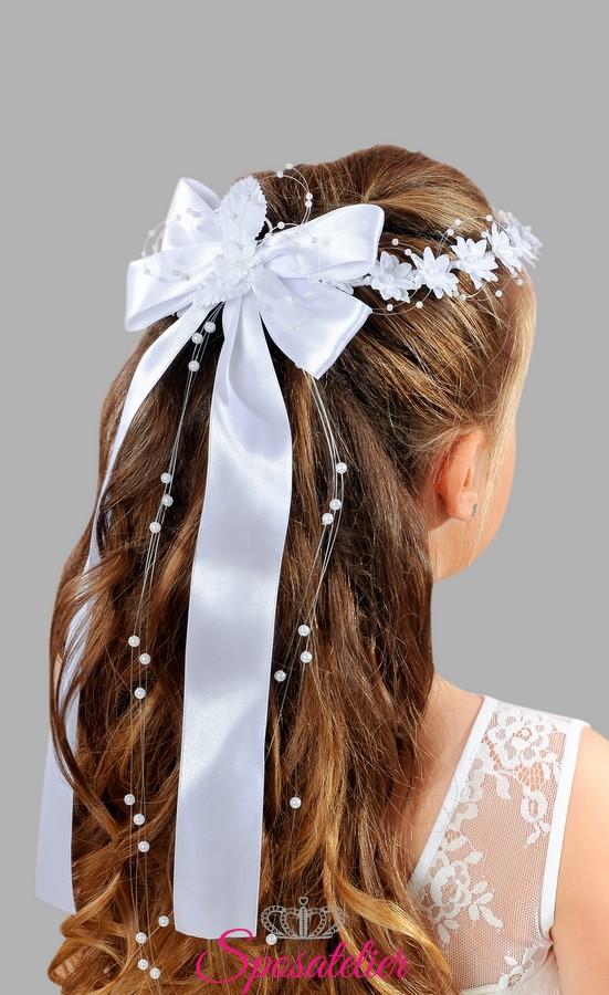 Top coroncina con fiocco prima comunione bimba accessori per capelli  WB18