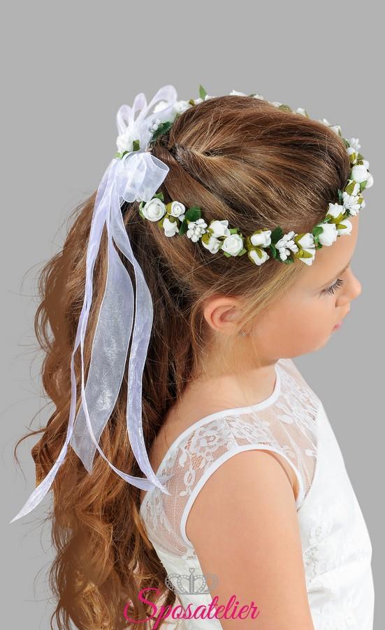 abbastanza coroncina con fiocco prima comunione bimba accessori per capelli  CC82