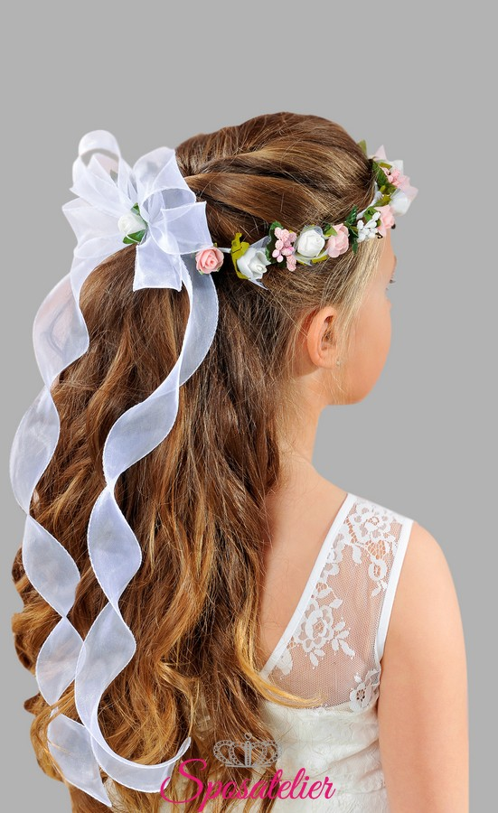 Conosciuto coroncine per capelli prima comunione bambina vendita  TA21