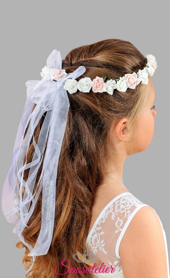 Favorito coroncina di fiori per bambina per la prima comunione accessori  CR33