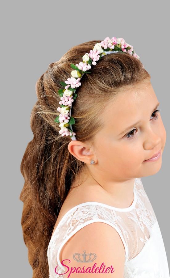 Extrêmement cerchietto di fiori per bambina per la prima comunione accessori  VY66