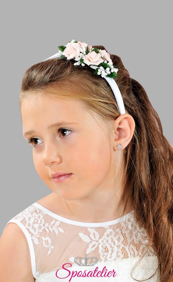 Conosciuto coroncine per capelli prima comunione bambina vendita  WE31