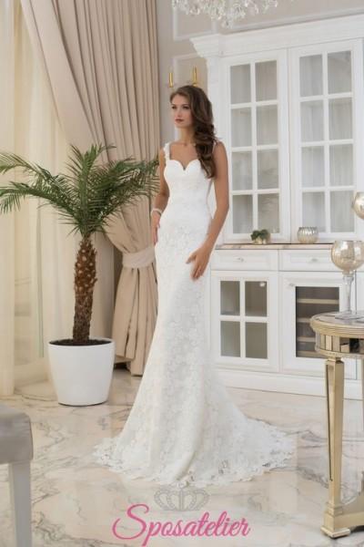 abiti da sposa a sirena con coda lunga sensuale ed elegante