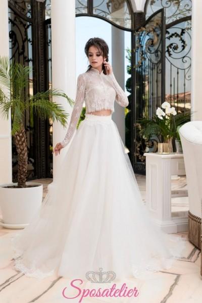 abiti da sposa 2 pezzi con camicia ricamata in pizzo e gonnellone on line