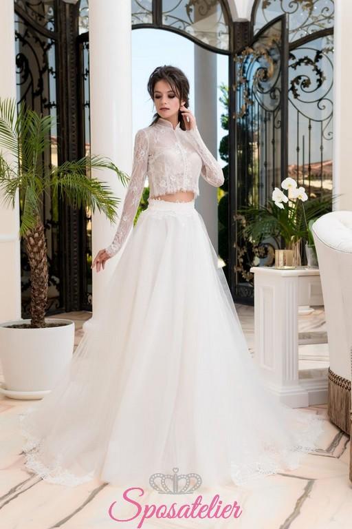 spesso abiti da sposa 2 pezzi con camicia ricamata in pizzo e gonnellone  SU27