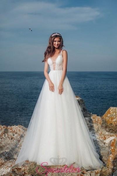 abiti da sposa on line sicuri italiani  con gonna in tulle glitterato