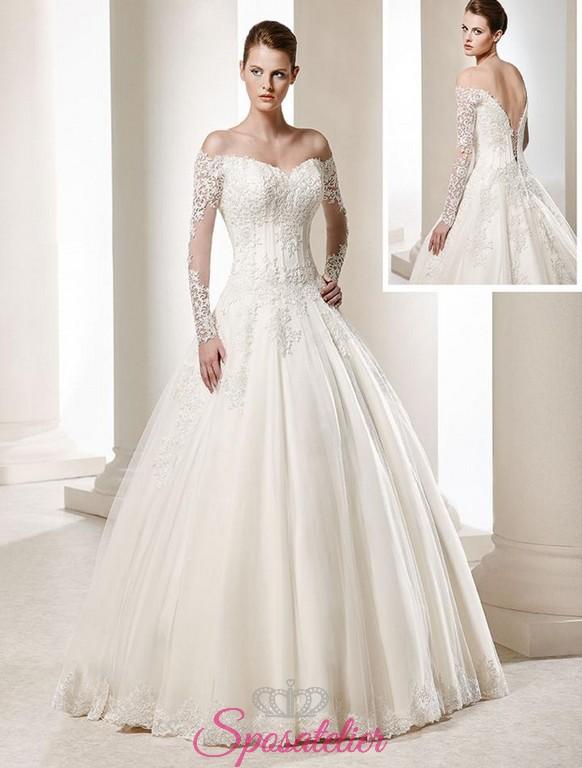 buy online b2b3b 222fb abiti da sposa con scollo bardot e maniche di pizzo vendita online