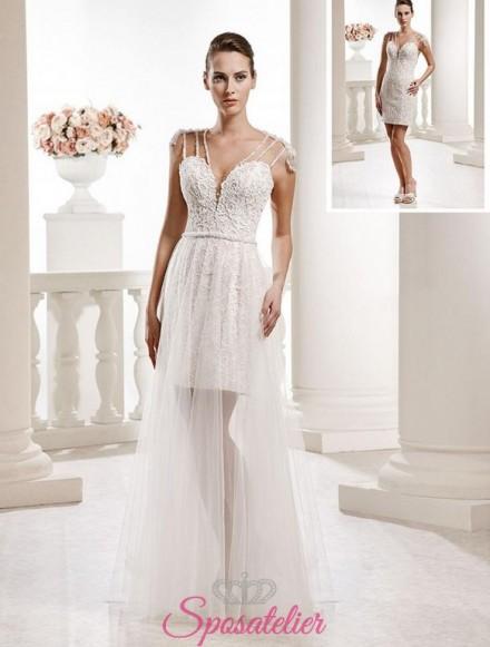 abiti da sposa corto con gonna lunga staccabile vendita online
