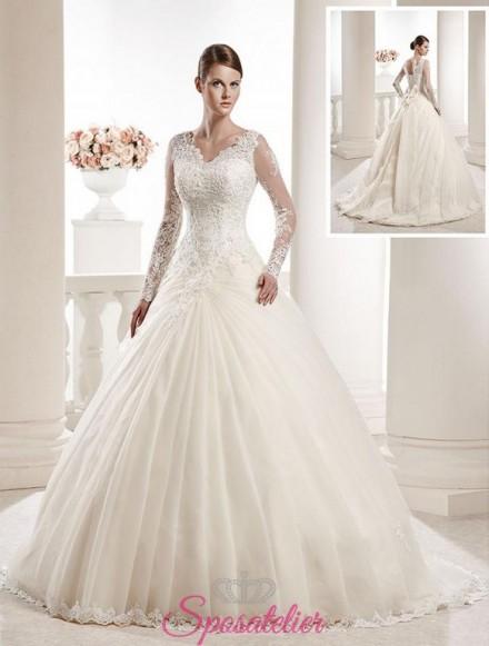 abiti da sposa a prezzi convenienti elegante a maniche lunghe
