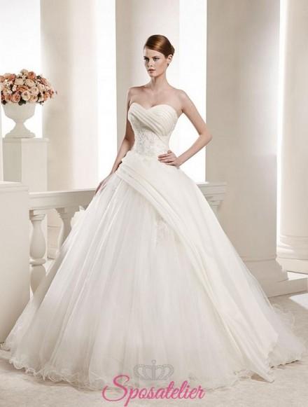 abiti da sposa asimmetrico pomposo vendita online