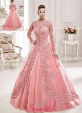 abiti da sposa in stile arabo invernale colorato a maniche lunghe  on line