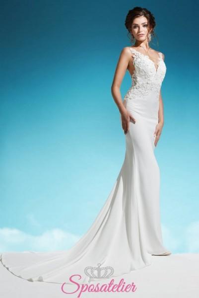 abiti da sposa a sirena con coda lunga economici vendita online