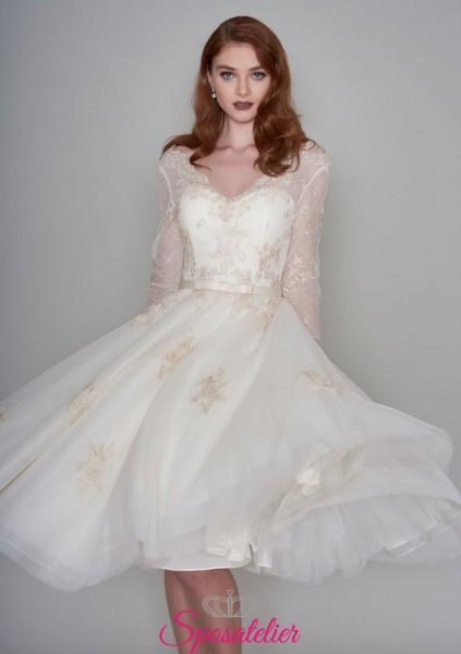 abiti da sposa per matrimonio civile color avorio con dettagli champagne