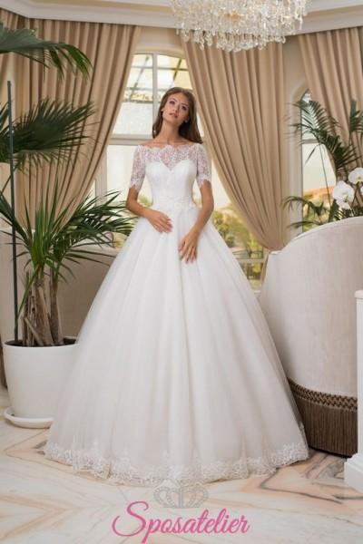 abiti da sposa con scollatura a barchetta e gonna ampia vendita online