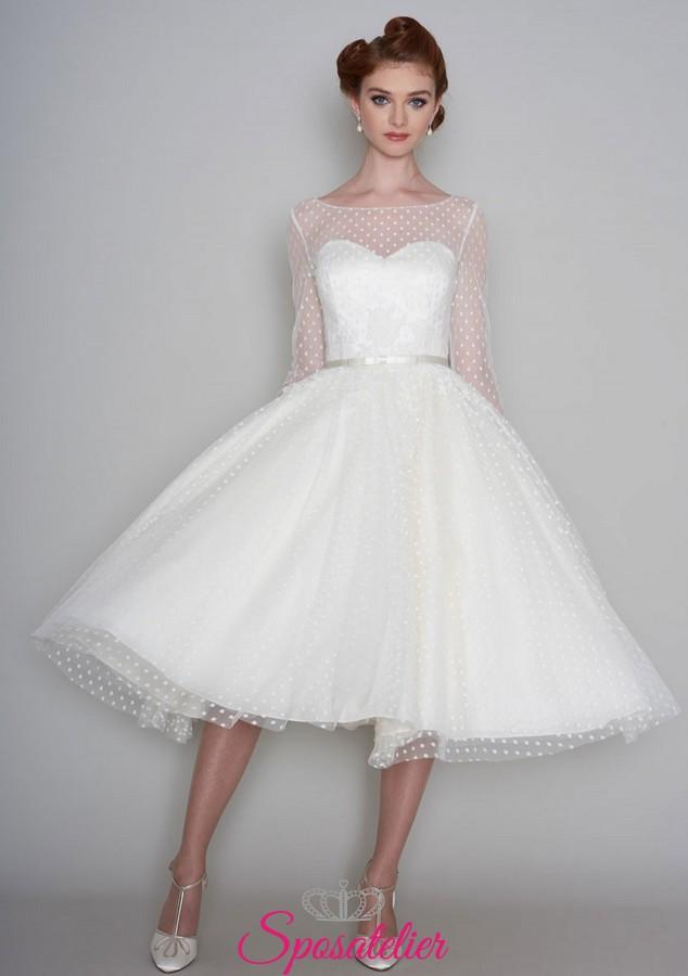 low priced e74f4 4657f abiti da sposa anni 50 corto con tulle a pois