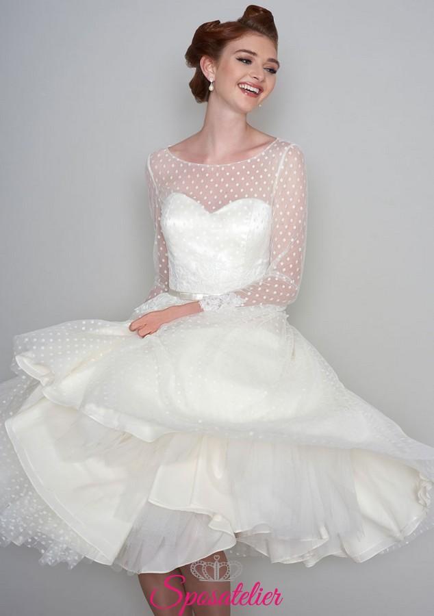 abiti da sposa anni 50 corto con tulle a poisSposatelier f2d1e3e507f