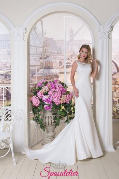 abiti da sposa in chiffon con coda lunga vendita online economici collezione 2018