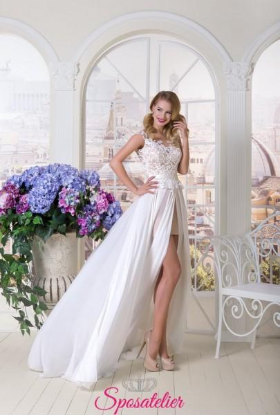 abiti da sposa corto ricamato in pizzo con gonna staccabile