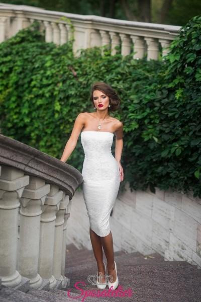 abiti da sposa corto elegante a tubino per matrimonio civile