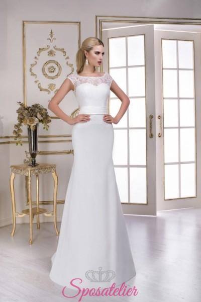 abiti da sposa in pizzo a sirena con scollo velato ricamato vendita online economici
