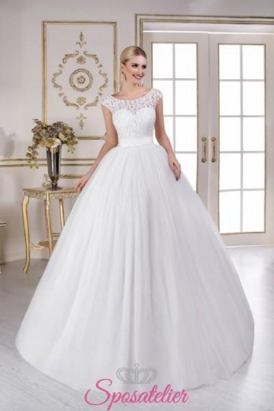 abiti da sposa con  spalline e gonna ampia morbida vendita online