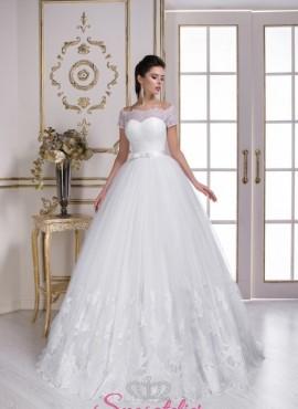 abiti da sposa online con  scollatura a barca e gonna a palloncino  sartoriali