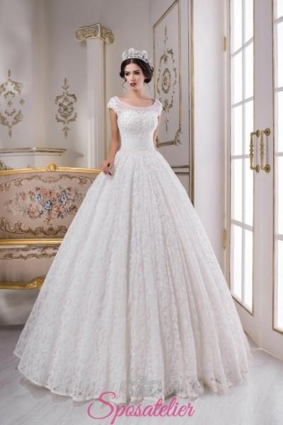 abiti da sposa online con gonna di pizzo a palloncino sartoriali