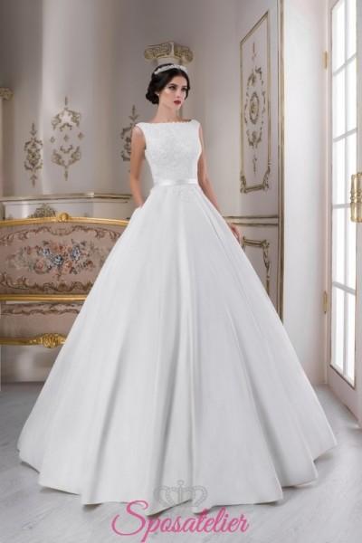 abiti da sposa 2018 in raso con gonna ampia scollo dritto vendita online