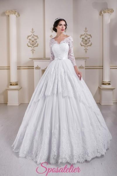 abiti da sposa 2018 ampio con balza ricamata in pizzo