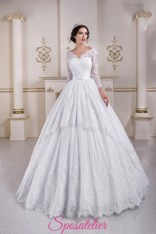 16a7d41f93df abiti da sposa 2018 ampio con strascico lungo vendita onlineSposatelier