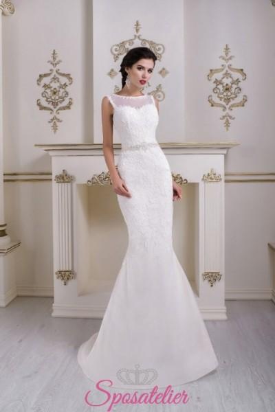 abiti da sposa in pizzo a sirena con scollo velato vendita online