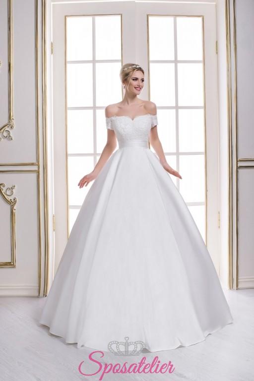edaf753413bb1 abiti da sposa taglio redingote con scollo a a barca vendita online  economici ...
