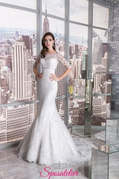 abiti da sposa a sirena particolari ricamato in pizzo con manice 3/4 vendita online