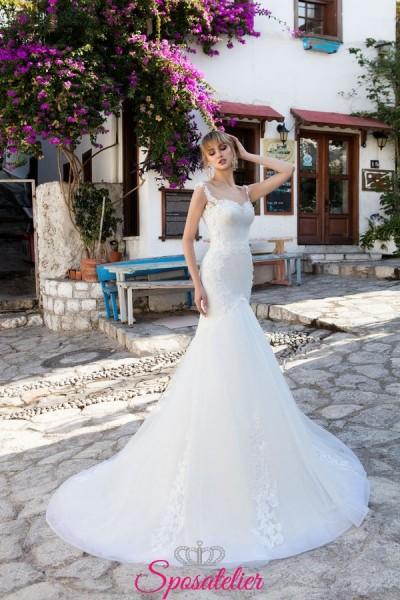 abiti da sposa a sirena vendita online economico di alta qualità ricamato in pizzo