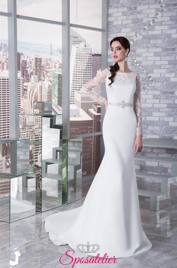 4f70d6fd3287 abiti da sposa a sirena particolari con maniche lunghe ricamate in pizzo  con spalline ...