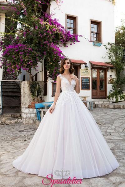 vestiti da sposa 2018 on line con scollo a cuore  a prezzi economici