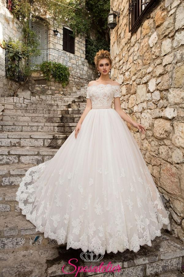 vestiti da sposa 2018 on line con scollo omerale a prezzi economici di alta  qualità f581db54377a