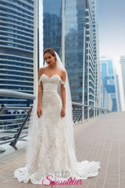 abiti da sposa a sirena particolari ricamato in pizzo con spalline vendita online