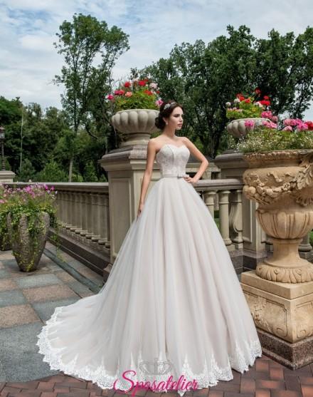 abito da sposa romantico con scollo a cuore on line economici