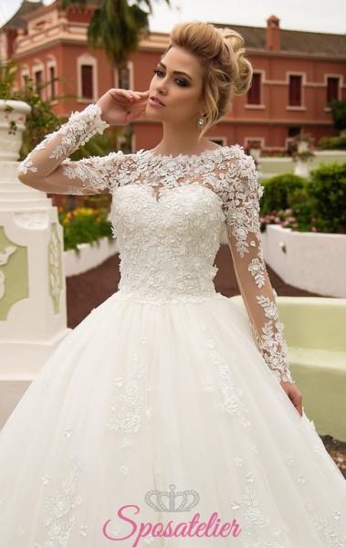 abiti da sposa on line economici con gonna ampia e applicazioni