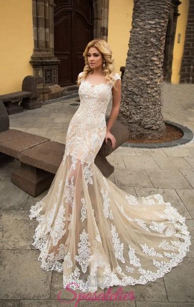 abiti da sposa con gonna trasparente e ricami colorato collezione 2018