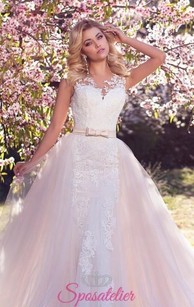 abiti da sposa on line color avorio con gonna rosa staccabile