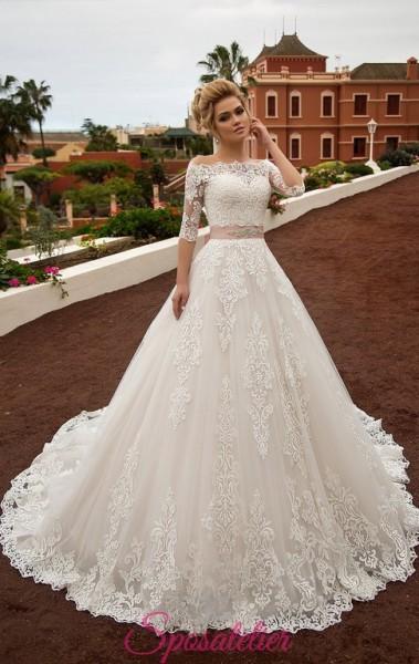 abiti da sposa modello principessa on line economici con cintura colorata