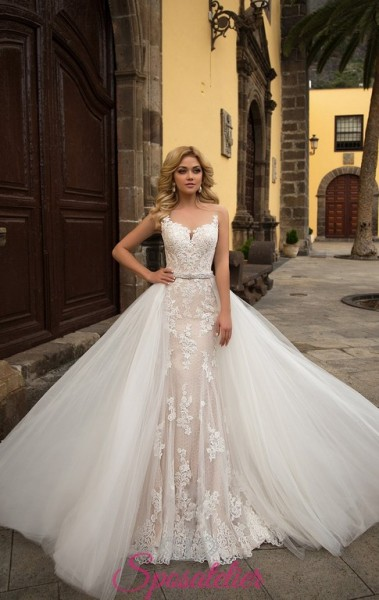 abiti da sposa on line color champagne con gonna removibile